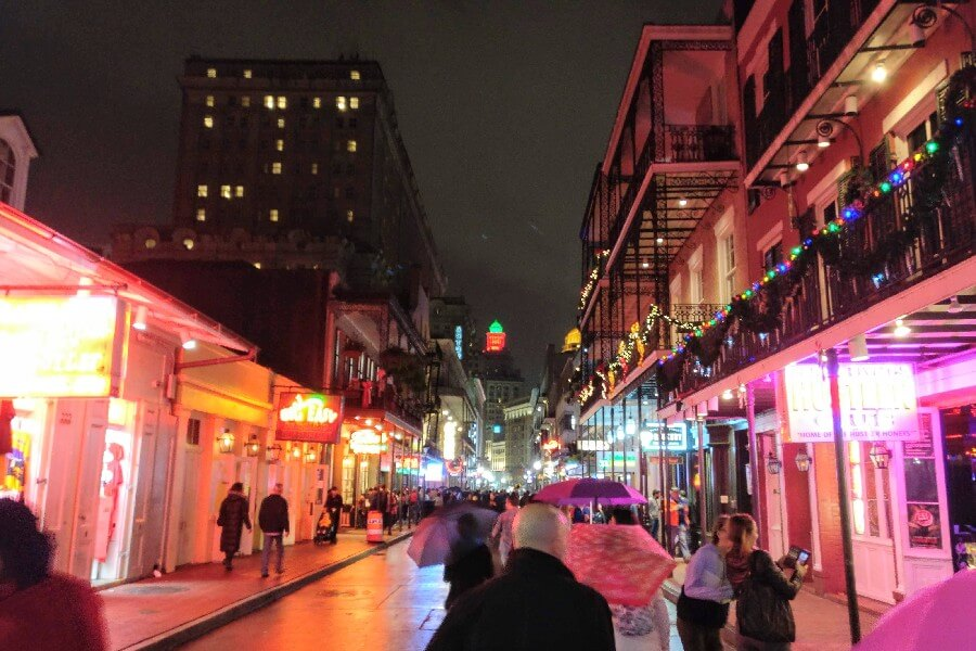 Frenchman's Street at night
