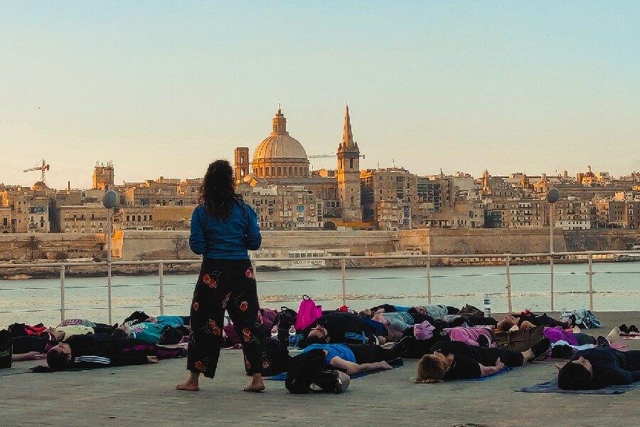 Early morning yoga