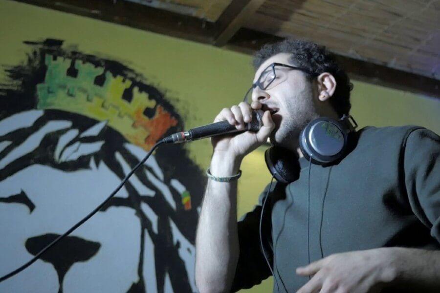 Cristian Lazzara rapping in Italian